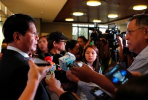 "Presidential Adviser on Reconstruction and Rehabilitation Panfilo M. Lacson answers questions from the media in an interview after he delivered his address at a forum in Makati City last January 23. The former senator had refused to accept his pork barrel funds from the start. He said in a privilege speech that the funds had corrupted legislators. Now, even the members of the media are being named as those who received ""payolas."" (MNS photo)"
