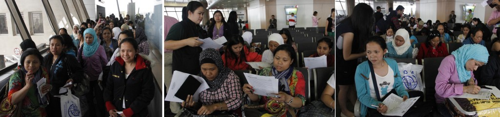 A batch of 37 female overseas Filipino workers (OFWs) repatriated from Syria, arrive at 4 p.m. Friday (March 7) via EK 332. OWWA personnel and from Office of the Vice President (center photo) assist the returning OFWs upon their arrival at the Gate 3 of the Ninoy Aquino International Airport (NAIA) Terminal 1. (MNS photo)