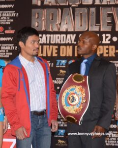 "Freddie Roach: ""We are training for big game in this fight. Manny (Pacquiao, left) knows he is going to have to hunt Bradley down and close the show this time. The first fight with (Timothy) Bradley was so easy for Manny that after six rounds he just took it easy on him.  Not this time.  Our Mantra is 'Close the show.  No mercy."""