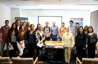 (3rd frm L-R) Acting Head of Post Panolong, Vice Consul Mary Joy Ramirez, Cultural Officer Wilma Bautista, (background 5th frm R) Professor Joel Fetzer and his students of Pepperdine University.