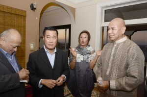 California State Senator Leland Yee (second from left) with co-accused Dr. Wilson Lim (leftmost) during a recent in Southern California, where Yee has been courting votes from the Filipino-American community for his supposed run for the California Secretary of State post. Others in photo are civic leader Malou Mariano and thespian Bernardo Bernardo during a reception in Yee's honor in Long Beach.