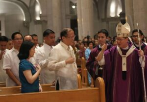 "President Benigno S. Aquino III greets His Eminence Luis Antonio Cardinal Tagle, DD (and who is probably telling the president that ""you won this time"" after the Supreme Court upheld the Reproductive Health Law, following the Thanksgiving Mass for the Reopening of the Cathedral Basilica of the Immaculate Conception (Manila Cathedral) in Cabildo corner Beaterio, Intramuros, Manila City on Wednesday night (April 09, 2014) (MNS photo)"
