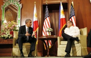 President Barack Obama, left, and Philippine President Benigno Aquino III participate in a bilateral meeting at Malacanang Palace in Manila, the Philippines, Monday, April 28, 2014. Obama said a 10-year agreement signed Monday to give the U.S. military greater access to Philippine bases will help promote regional security, improve armed forces training and shorten response times to humanitarian crises, including natural disasters. (MNS photo)