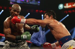 Manny Pacquiao lands a left hand to the head of Timothy Bradley at the MGM Grand Garden Arena on April 12, 2014 in Las Vegas, Nevada. (MNS photo)