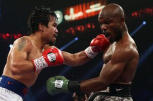 Manny Pacquiao throws a left hand at Timothy Bradley at the MGM Grand Garden Arena on April 12, 2014 in Las Vegas, Nevada and wins via a unanimous decision. Will Floyd Mayweather Jr. be next? (MNS photo)