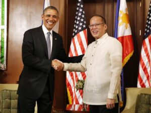 President Barack Obama meets with President Benigno Aquino of the Philippines at the Malacanang Palace in Manila, April