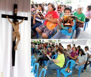 "A Filipino Catholic tradition detailing the life and passion of our Lord, Jesus Christ, through singing. It is sung using local dialects and the hymns depending on what province. Photo shows Catholic devotees in Pasig City sing the traditional Lenten ""Pabasa ng Pasyon"" in front of a makeshift altar, at the Pasig City Hall. ""Pabasa"" refers to the chant reading of the Filipino version of Christ's suffering, death and resurrection as a form of Catholic devotees' religious meditation during the Holy Week. (MNS Photo)"