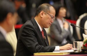 "NAY PYI TAW, Myanmar – President Benigno S. Aquino III reviews his documents during the 24th ASEAN Summit Plenary at the Ruby Hall of the Myanmar International Convention Center-1 (MICC-1) on Sunday (May 11, 2014). ""Moving Forward in Unity to a Peaceful and Prosperous Community"" is the theme for this year's ASEAN, highlighting the importance of a united ASEAN. (MNS photo)"