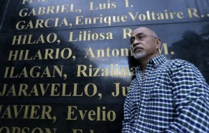 Filipino poet Bonifacio Ilagan, one of hundreds of activists imprisoned during the Martial Law period which was declared by the late strongman Ferdinand Marcos, poses by the granite wall which is engraved with the names of Martial Law victims, including his sister Rizalina Ilagan, at the Heroes Shrine at suburban Quezon city, northeast of Manila, Philippines Monday Jan. 28, 2013. More than 9,000 victims will be awarded compensation using $246 million that the Philippine government recovered from Marcos' ill-gotten wealth. But all claims will still have to evaluated by an independent commission and the amount each will receive will depend of the abuse suffered. (MNS photo)