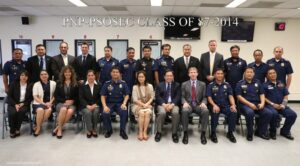 Seated at (5th  frm L-R) Police Superintendent Salvador, Mrs. Fides Herrera-Lim, Consul General  Herrera-Lim, US Embassy Legal Attaché Gibson Wilson with members of the FBI and PNP-PSOSEC Class 2014-87.