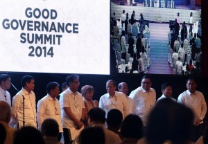 "President Benigno S. Aquino lll attends to the Good Governance Summit 2014 with the theme of "" Good Governance through Open Government and Sustainable Procurement "" at the Philippine International Convention Center, CCP Complex in Pasay City,Wednesday,July 15. Also in photo are from left, Presidential Spokesperson Edwin Lacierda,Deped Secretary Armin Luistro, DILG Secretary Mar Roxas II, DOJ Secretary Leila De Lima, DBM Secretary Florencio Abad, Secretary to the Cabinet Rene Almendras, Central Bank Governor Amando Tetangco, Presidential Legislative Liason Officer Manuel Mamba.(Photo by Benhur Arcayan/Malacañang Photo Bureau)"