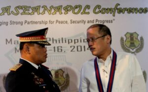President Benigno S. Aquino III converses with Philippine National Police (PNP) Director General Alan Purisima during the 34th Association of Southeast Asian Nations Chiefs of Police (ASEANAPOL) Conference at the Luzon Ballroom of the Sofitel Philippine Plaza in Roxas Boulevard, Pasay City on Tuesday (May 13, 2014).  (MNS photo)