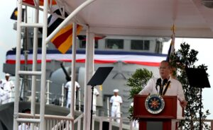 "President Benigno S. Aquino III delivers his speech during the Philippine Navy Change of Command and Retirement Ceremony of Vice Admiral Jose Luis Alano at the Capt. Salvo Pier in Sangley Point, Cavite City on Wednesday (April 30). The Commander in Chief appoints Rear Admiral Jesus Millan as the 34th Flag Officer in Command after his predecessor Alano retires from the military service. Millan is a member of the Philippine Military Academy ""Sandigan"" Class of 1982.  (MNS photo)"