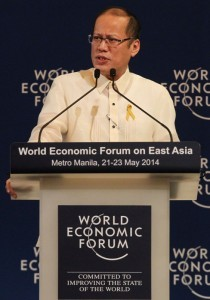 "President Benigno S. Aquino III delivers addresses the 23rd World Economic Forum on East Asia (WEF-EA) 2014 Opening Plenary at the Tacloban A & B, 2nd Floor, of the Shangri-la Hotel in Makati City on Thursday (May 22, 2014). With theme: ""Leveraging Growth for Equitable Progress."" The meeting will serve as an ideal platform for participants to deliberate the opportunities of the ASEAN Economic Community to promote greater inclusion across East Asia and to instill more resilient decision-making in the face of unpredictable economic and natural disruptions. More than 600 leaders from business, government, civil society and academia will participate, representing over 30 countries. (MNS Photo)"