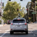 Google self-driving car coming around the corner