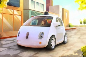 An artistic rendering of Google's autonomous vehicle. ©Google Inc
