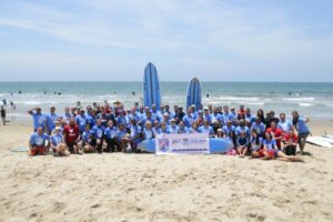 Waves of Valor Surf Camp with Team Red, White and Blue at Santa Monica Beach Lifeguard Tower 28. (photo courtesy of VA Greater Los Angeles Healthcare System facebook page)
