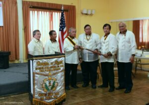 (L-R) Knights of Rizal Mr. Chito Mandap, Mr. Tony Berango, Dr. Marc Caratao as the new Historic Filipino Town Chapter Commander taking over from Mr. Rudy Ferran and Mr. Austin Baul. (photo courtesy of Philippine Consulate General in Los Angeles, CA Facebook page)