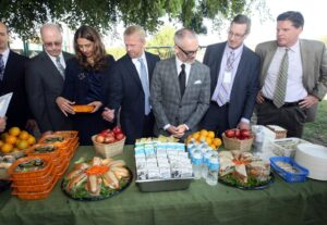 (From left) Thelma Melendez, LAUSD's Beyond the Bell, Michael A. Shull, City of Los Angeles Department of Recreation and Parks General Manager, Councilmember O'Farrell Emcee, David Binkle, LAUSD Director of Food Services and Michael Flood, LA FoodBank and LA Food Policy Council.
