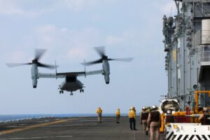 An MV-22 Osprey tiltrotor aircraft takes off from the flight deck of the USS Bonhomme Richard during aviation operations exercises in the East China Sea, April 23, 2014. U.S. Navy photo by Petty Officer 2nd Class Adam D. Wainwright