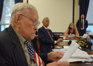 97-year-old Filipino World War II Veteran Celestino Almeda  (left) was among those who testified in the hearing chaired  by Congressman Joe Heck, who respresents Nevada's Third Congressional District in the House of Representatives