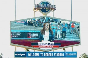 "Christine Love is the latest Filipino-American to have shared their talent at a major league game. In 2012, our very own Becca Godinez also sang Star Spangled Banner in a Dodgers Filipino Heritage Night in 2012 while another Fil-Am, Krystle Cruz, sang ""God Bless America"" in the 7th inning of a Dodgers game in 2011. Michelle Martinez, a Bay-Area based pop/R&B artist sang the National Anthem at Dodgers Filipino Heritage Night when the Dodgers met the St. Louis Cardinals."