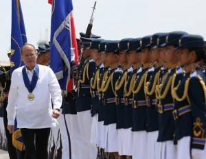 "President Benigno S. Aquino III reviews the troops during the 67th PAF Anniversary at the Haribon Hangar of the Air Force City in Clark Air Base, Pampanga on Tuesday (July 01, 2014). This year's celebration is anchored on the theme ""Soar High PAF for Peace, Freedom and Development"". PAF was founded on July 1, 1947- two years after the end of World War II. It traces its lineage to the Philippine Army Air Corp, which was established in 1941. (MNS Photo)"