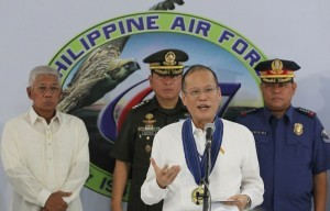 "President Benigno S. Aquino III answers questions directed to him during the 67th Anniversary of the Philippine Air Force (PAF) at the Haribon Hangar of the Air Force City in Clark Air Base, Pampanga on Tuesday (July 01, 2014). This year's celebration is anchored on the theme ""Soar High PAF for Peace, Freedom and Development"". PAF was founded on July 1, 1947- two years after the end of World War II. It traces its lineage to the Philippine Army Air Corp, which was established in 1941. (MNS Photo)"