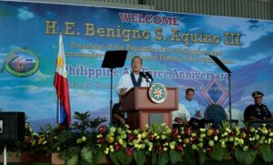 "President Benigno S. Aquino III addresses the 67th Anniversary of the Philippine Air Force (PAF) at the Haribon Hangar of the Air Force City in Clark Air Base, Pampanga on Tuesday (July 01, 2014). This year's celebration is anchored on the theme ""Soar High PAF for Peace, Freedom and Development"". PAF was founded on July 1, 1947- two years after the end of World War II. It traces its lineage to the Philippine Army Air Corp, which was established in 1941.Also in photo are Defense Secretary Voltaire Gazmin and Armed Forces of the Philippines (AFP) Chief of Staff Gen. Emmanuel Bautista  (MNS Photo)"
