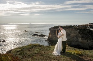 A scenic view of the Pacific Ocean at Mendocino Coast, California with the bride and groom - Jannelle & Lester (Mr. & Mrs. Perkins' Wedding by KLK Photography)