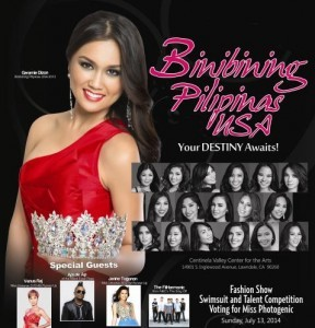 Seventeen Filipina-Americans will compete for the Binibining Pilipinas USA 2014 title. The grand winner will be chosen on coronation night, Saturday, July 19, at the Centinela Valley Center for the Arts, in Lawndale, CA.
