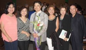 "St. John the Baptist Musical:  Multi-awarded Composer/Medical Doctor Ramon Geluz is flanked by well-wishers, Lydia Soriano, Loi Herrera, Edith Andres and Den and Joe Iglesias at the conclusion of the musical production, ""The Life of St. John the Baptist"" at St. Louise De Marillac Church in Covina July 19. Dr. Geluz wrote the music, lyrics and directed the musical's encore presentation."