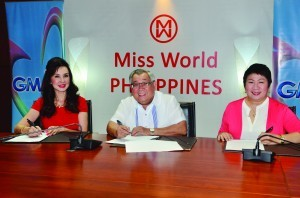 Present during the contract signing were (left to right) Miss World Philippines National Director Cory Quirino, GMA Network Chairman and CEO Felipe L. Gozon, and GMA Senior Vice President for Entertainment TV Lilybeth G. Rasonable.