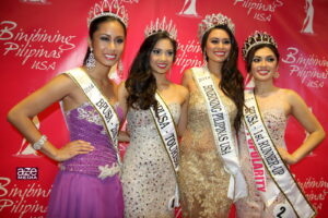Binibining Pilipinas USA winners: (From left) 2ND Runner Up Gabbie Gonzales; Binibining Pilipinas USA–Tourism Czarina Hermoso; Binibining Pilipinas USA 2014 Christelle Abello and 1st Runner Up Caitlin San Diego. Not in photo is 3rd Runner Up Lovely Jane Tanglao. Photo: Andy Edralin/Aze Media