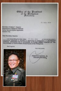 Lt. Gen. Gregorio Pio P. Catapang (inset) with his letter of designation signed by President Benigno Aquino III making appointing him as the new chief of staff of the Armed Forces of the Philippines as posted in his own Facebook account.