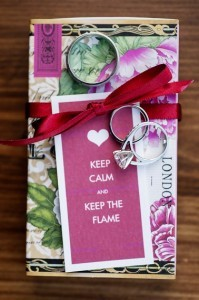 Guests took home matchboxes with tags that read: 'Keep Calm and Keep the Flame'