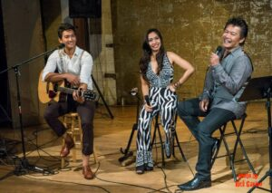 Nicole, 28, and Carlo, 26, share a light moment with their father, illustrious singer Mon David, who joined them on stage for a number during their CD launching concert at Art Share. (Photo by Rick Gavino)