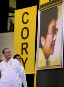 "President Benigno S. Aquino III, unveils a photo of the late President Corazon C. Aquino at the opening the ""History and Her Story"" – a special commemorative photo exhibit on the 5th death anniversary of former President Corazon C. Aquino at the Glorietta Activity Center in Palm Drive, Makati City on Monday (August 04). The exhibit provides a rare glimpse into Mrs. Aquino's life – from her school years at the St. Scholastica's College, to her marriage to the late Senator Benigno Aquino, Jr., to the People Power revolution that changed her life, and in the process, Philippine history. It also revisits Mrs. Aquino's years as the first female President of the Philippines from 1987 to 1992. (MNS photo)"