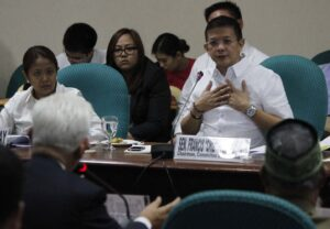 Senator Francis Escudero, Chairperson Committee on Finance, along with Senator Nancy Binay, presides the deliberation of the 2015 proposed budget of the Commission on Election (COMELEC) on Tuesday (August 26,2014) at the Senate Building in Pasay City. (MNS photo)