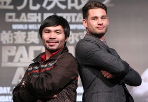 Manny Pacquiao (left) poses with next foe Chris Algieri in Macau, where two will meet on November 22.