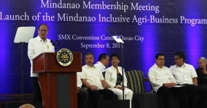 President Benigno S. Aquino III delivers his speech during the Philippine Business for Social Progress (PBSP) Membership Meeting and launch of Mindanao Inclusive Agribusiness Program (MIAP) at the Function Hall 3, SMX Convention Center of the SM Lanang Premier in Lanang, Davao City on Monday (September 08). The event aims to rally PBSP members and other Mindanao companies around the idea of inclusive business, specifically on priority industries: coffee, cacao, corn, palm oil and rubber, as well as possible investments in Bangsamoro. (MNS photo)