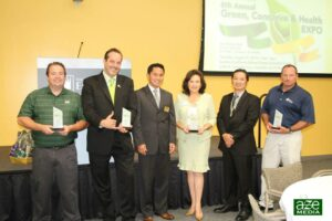Fil-Am Chamber Emerald Awardees:  The awardees for the Emerald Awards of OC Fil-Am Chamber of Commerce of the 6th Annual Green, Conserve and Health Expo at the SC Edison Education Center in Irwindale enjoy their moment of accomplishment. Awards included: The City of Cerritos, as Outstanding Green City,  Walmart as the Green Company Doing Business in Southern California; Simple Green product, Outstanding Energy Conservation; Sim's Recycling Solution, Corporate Sustainability Leadership Award, and Eco Mattress Protection as Outstanding Green Product. (Photo courtesy of  Filipino American Chamber of Commerce of Orange County facebook page)