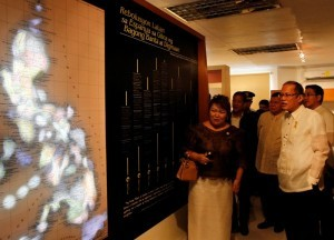 "President Benigno S. Aquino III tours and inspects the Apolinario Mabini Museum to formally open the museum during the commemoration of the 150th Birth Anniversary of Apolinario Mabini at the Apolinario Mabini Shrine in Barangay Talaga, Tanauan City, Batangas on Wednesday (July 23, 2014). The modernized museum features Mabini's life and legacy, and historical artifacts which highlight Mabini's role in the Philippine-American war in 1899. With theme: ""Mabini: Talino at Paninindigan,"" the yearlong festivities aims to honor Mabini, the ""Sublime paralytic,"" as the brains behind the Philippine revolution. Also in photo are National Historical Commission of the Philippines (NHCP) chairperson Dr. Maria Serena Diokno Batangas, 3rd District Representative Nelson Collantes and Batangas Vice Governor Jose Antonio Leviste II. (MNS Photo)"