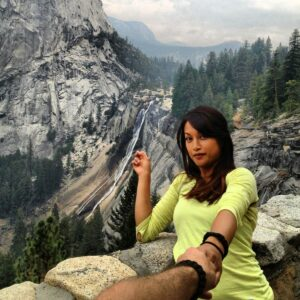 Marissa Dela Cruz hiking the Yosemite trail.