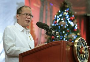 President Benigno S. Aquino III delivers his speech during the 28th annual Bulong Pulungan Christmas Party at the Luzon Ballroom of the Sofitel Philippine Plaza Manila in CCP Complex, Roxas Boulevard, Pasay City on Friday (December 05). The Bulong Pulungan media forum started 28 years ago on the onset of People Power by the country's leading lifestyle journalists. (MNS photo)
