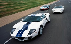The Ford GT pictured with its illustrious predecessors. ©Ford Motor Company
