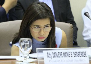 PAG-IBIG Chair Atty. Darlene Berberabe attends the Blue Ribbon Subcommittee hearing for the first time. (MNS photo)