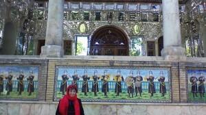 World traveler, author, poet Odette Ricasa in front of Golestan Palace, Iran.
