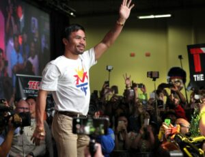 "Manny Pacquiao during fan rally at Mandalay Bay in Las Vegas. He will face Floyd Mayweather Jr in the ""Fight of the Century"" on Saturday, May 2, 2015."