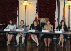 From left: storytellers Alenoush Bidrousian of Iranian ancestry and Korean-American Manok Cha; panelists Elisa Sequiera, of the NALEO Educational Fund; Nasim Khansari, Citizenship Director for Asian Americans Advancing Justice-Los Angeles; and Linda Lopez, chief of the Office of Immigrant Affairs at the Los Angeles Mayor's Office. Photo: Odette Galino